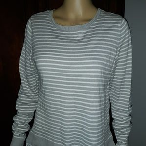 LOFT gray and white striped sweater